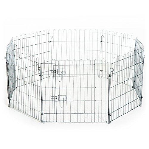 PawHut Freilaufgehege Welpenauslauf Welpenzaun Laufstall Welpengitter für Tiere 8-teilig B63 x H91 cm