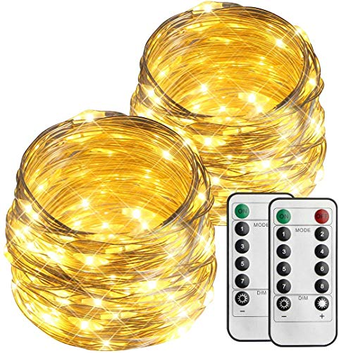 esLife - Catena di luci a 100 LED, 10 m, a batteria, per esterni, IP65, impermeabile, con telecomando e timer, per feste di Natale, matrimoni, giardini, bianco caldo