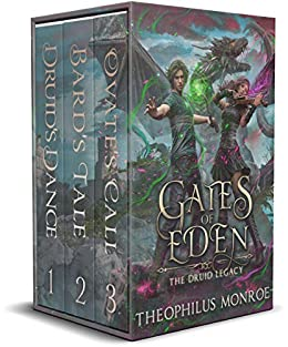 3-in-1 BOXED SET ALERT! More than 1200 pages of druids, dragons, demigods, and danger fill this modern Arthurian epic… <em>Gates of Eden: The Druid Legacy Boxed Set</em> by Theophilus Monroe