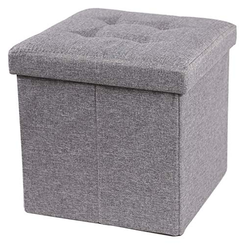 CAMPMOON 15quot Storage Ottoman Seat Cube for Bedroom Foldable Gray Small Ottoman Foot Rest with Storage Linen Gray