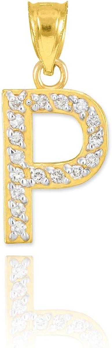 10k Yellow Gold Diamond Alphabet Initial Letter P Charm Pendant