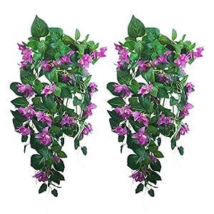 "Silk Flower Arrangements Lily Garden Silk Bougainvillea Vine Plant Artificial Flowers Cascade 34"" x2pcs (Purple)"