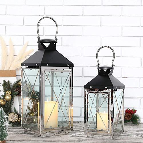 JHY DESIGN Conjunto de 2 farolillos para Velas candelabros Decorativos de Velas 48.5cm y 35.5cm Velas Grandes portavelas Exterior Decoracion hogar faroles Cristal para Velas Interiores Fiestas Bodas