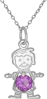 Happy Baby Boy Sterling Silver June Birthstone Pendant Necklace with Chain