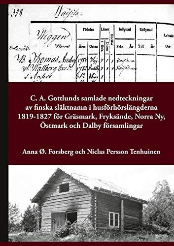 C. A. Gottlunds samlade nedteckningar av finska släktnamn i husförhörslängderna 1819-1827 för Gräsmark, Fryksände, Norra Ny, Östmark och Dalby församlingar