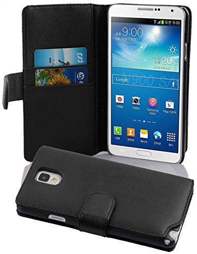 Cadorabo Funda Libro para Samsung Galaxy Note 3 en Negro DE Caviar - Cubierta Proteccíon de Cuero Sintético Liso con Tarjetero y Función de Suporte - Etui Case Cover Carcasa