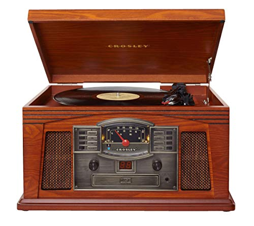 Crosley CR42D-PA Lancaster 3-Speed Turntable with Radio, CD/Cassette Player, Aux-in and Bluetooth, Paprika (Renewed)