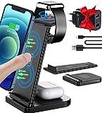 Cargador inalámbrico 3 en 1, estación de carga inductiva extraíble, cargador inalámbrico con 30 W USB y cable de carga, compatible con Apple Watch 6/5/4/3/2, Airpods, iPhone 12/11/8, Samsung S20
