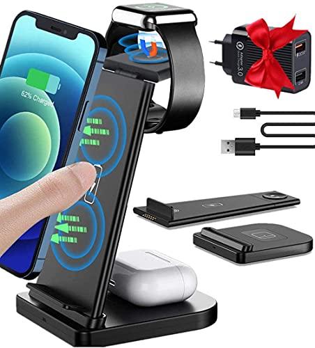Cargador inalámbrico 3 en 1, estación de carga inductiva extraíble, cargador inalámbrico con 30 W USB y cable de carga, compatible con Apple Watch 6/5/4/3/2, Airpods, iPhone 12/11/8, Samsung S