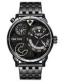 Alienwork Herren-Armbanduhr Quarz schwarz mit Edelstahl Metallarmband Kalender Datum Multi Zeitzonen XL Über-große