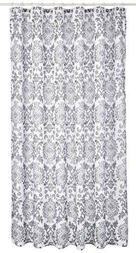 iDesign Damask Duschvorhang | hochwertiger Duschvorhang mit Ösen aus Metall| Designer Duschvorhang in der Größe 180,0 cm x 200,0 cm | Polyester grau