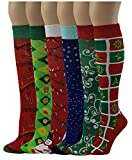 Differenttouch 6 Pairs Women's Fancy Design Multi Color Knee High Socks (Merry Christmas)