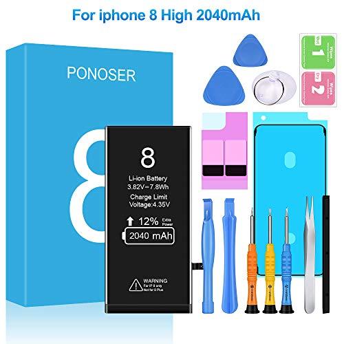 Ponoser Akku für iPhone 8 2040mAh, Ersatzakku mit Hoher Kapazität, mit Werkzeugset und Reparaturset Akku-Austausch, Kompatibel mit Apple 8, 24 Monate Garantie