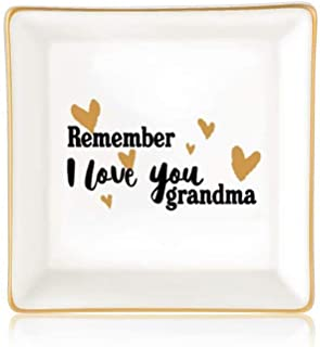 Grandma Gifts from Granddaughter, Remember I Love You Grandma Ceramic Ring Dish Decorative Trinket Plate Grandmother Valentines Mothers Day Jewelry Gifts for Grandma Birthday Christmas