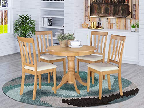 East West Furniture Dining Room Set 4 Great Wooden Chairs A Wonderful Pedestal Dining Table Faux Leather Seat And Oak Finnish Round Wooden Table Accuweather Shop