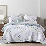 Colcha acolchada blanca Manta de cama King Size - Juego de edredón de algodón de 3 piezas incluye manta acolchada + par de funda de almohada - 230x250cm