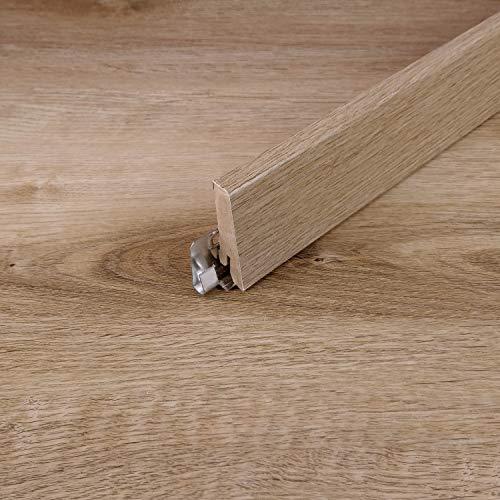 Sockelleiste für TRECOR® Klick Vinylboden - Länge: 240 cm - Höhe: 60 mm - Tiefe: 18 mm - WASSERFEST - (Sockelleiste 1 Stück, Eiche Rustique Natur)