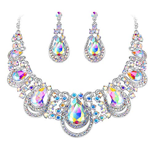 BriLove Costume Fashion Jewelry Set for Women Crystal Teardrop Hollow Scroll Statement Necklace Dangle Earrings Set Iridescent AB Silver-Tone