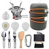 Pentole da Campeggio Kit da Pasticcio Escursionismo Zaino in Spalla Picnic Ciotola da Cucina Set di Cucchiai di Coltelli Antiaderenti,A