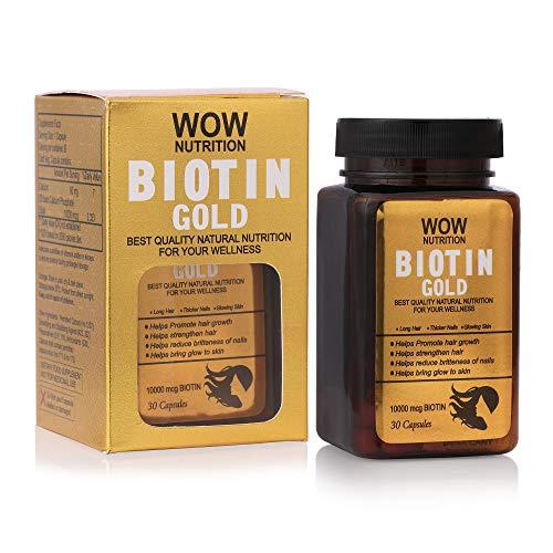 WOW Nutrition Biotin Gold Maximum Strength 10,000mcg (30Capsule)