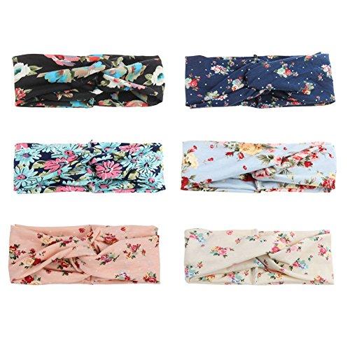 COUXILY Damen Elastische Blume Gedruckt Stirnbänder Marineblau Knoten Haarband Knotted Band für Yoga Sport (T01)