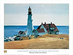 Lighthouse and Buildings, Portland Head by Edward Hopper 24x32 Art Print Poster Famous Painting Coastal Landscape Ocean View