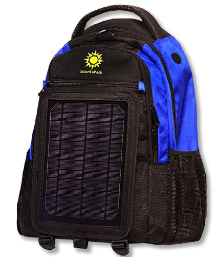 SolarGoPack solar powered backpack, charges mobile devices, Take Your Power with You, 12k mAh L-ion Battery, Black & Blue - Stay Charged my Friends