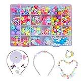 QH-Shop Abalorios perlas de resina de plástico de colores con 24 compartimentos de PVC (400 piezas) macarrón