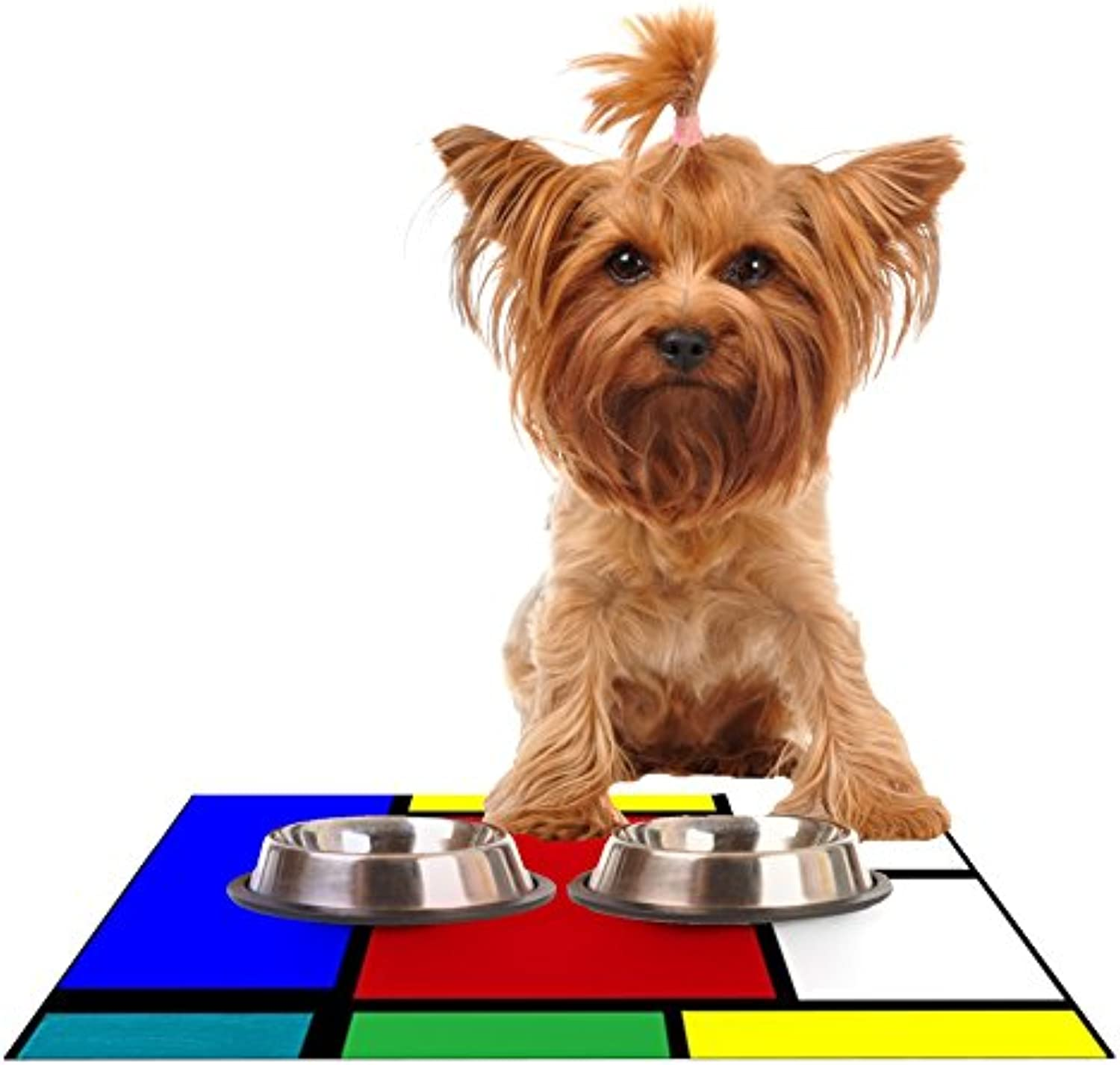 Kess InHouse Oriana Cordero Mondrian and Me Multicolor Squares Feeding Mat for Pet Bowls, 24 by 15Inch