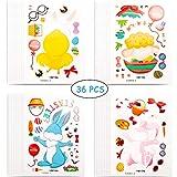 Gejoy 72 Piezas Arte de Rascar de Pascua con Palillos de Rascar Varios y Cintas Coloridas Juego de Tarjetas de Felicitaci/ón y Conejo Zanahorias Huevos para Cumplea/ños Fiesta Aula