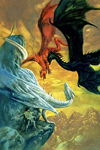 Dragon Battle Black Red Silver Fighting in Sky Dragon by Ciruelo Fantasy Painting Gustavo Cabral Cool Wall Decor Art Print Poster 24x36
