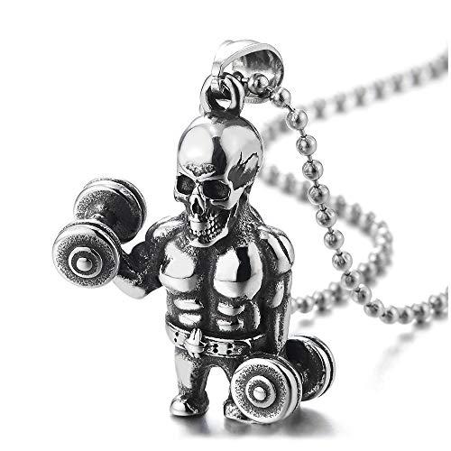 iMETACLII Acero Músculo Cráneo Agarrando Barra con Pesas Pesa de Gimnasia Colgante Collar con Colgante de Hombre, Bola Cadena 60CM