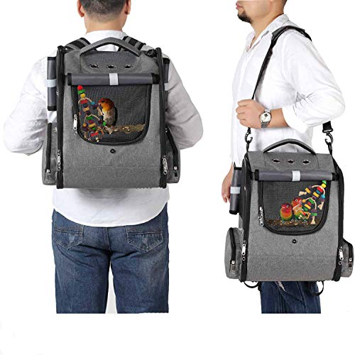 Bird Carrier Backpack Travel Parrot Bag Cage with Perch Stand for Parakeets Cockatiels Birdcage Vet Car Airlines Airplane Plane Approved Mesh Breathable Lightweight Conure Finches Outside (GREY)
