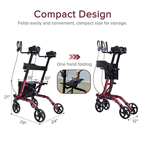 ELENKER Upright Rollator Walker, Stand Up Folding Rollator Walker Back Erect Rolling Mobility Walking Aid with Seat, Padded Armrests for Seniors and Adults, Red