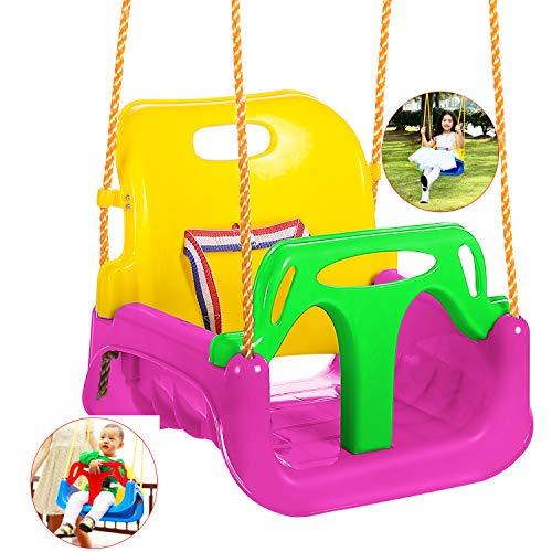 Bunao Babyschaukel 3 in 1 Babysitz verstellbar und mitwachsend Schaukelsitz Gartenschaukel für Baby und Kinder mit Rückenlehne und...