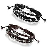 Flongo Men's Womens 2PCS Tribal Nautical Fish Hook Leather Wrap Bangle Cuff Bracelet, Fit 8-10 inch Wrist, Braided Wrap Rope Wristband for Men Women