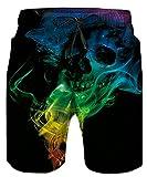 Idgreatim Men's Swim Trunk 3D Print Graphic Summer Beach Shorts Surfing Trunks, Skull, Medium