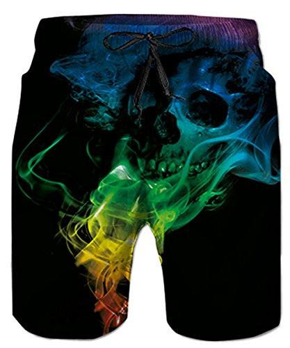 Idgreatim Herren Beach Shorts 3D Gedruckt Quick Dry Skull Badehose Loose Fit mit Taschen L