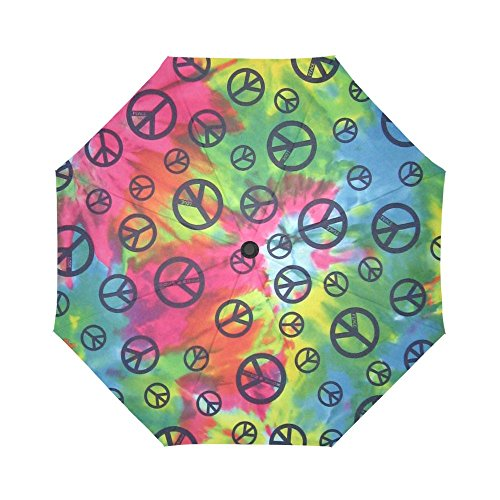 WECE Funny Cheap Umbrella Peace Sign Tie Dye Auto Travel Umbrella Men and Woman Folding Umbrella Best Funny Present