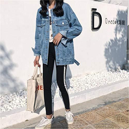 LJLLINGA Chaquetas de Mezclilla de Primavera Abrigo Informal de Diamantes Vintage Chaqueta de Mezclilla de Mujer para Prendas de Vestir Exteriores Jeans
