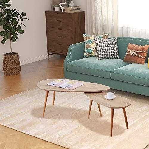 GOLDFAN Beistelltisch Holz Couchtisch 2er Set Wohnzimmertisch Sofatisch Kaffeetisch Satztisch Vitage Natur