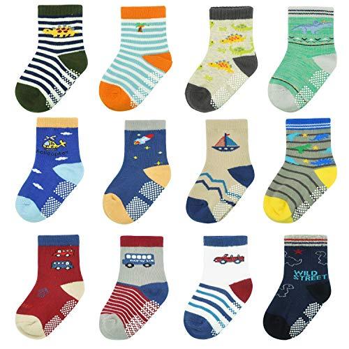 HYCLES Baby Anti Rutsch Knöchelsocken - 12 Paar ABS Socken für 1-7 Jahre Jungen Mädchen Kinder Kleinkind Säugling Neugeborenes (Dinosaurier (12 Paare), 1-3 Jahre)