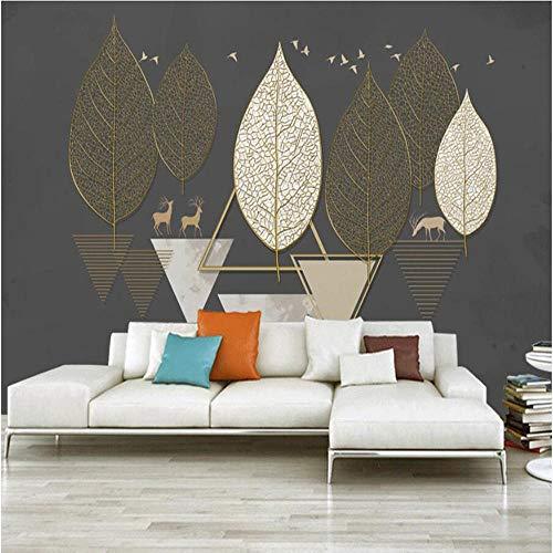 3D vliesbehang, fotovlies, premium fotobehang, geometrisch creatief blad met 3D-tekst, achtergrond voor televisie, muurschildering 250*175cm #056.