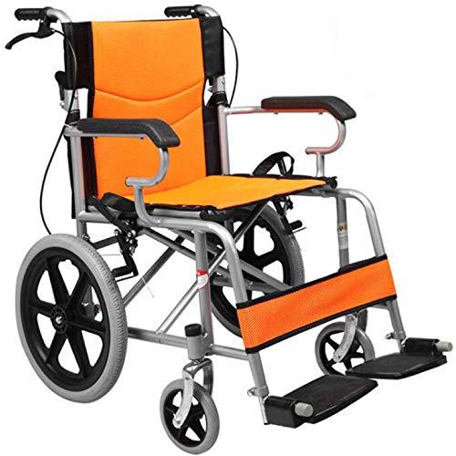 PORU Klappbarer Rollstuhl Leichtgewicht Reise Ultraleichter RollstüHle Mit Bremsen Selbstantrieb Sitzbreite 45 cm Reiserollstuhl Transportrollstuhl FüR äLtere Und Behinderte Menschen,Yellow