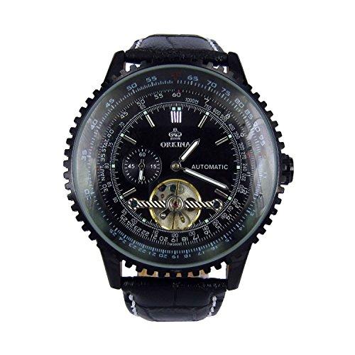 City Negro de Acero Inoxidable para Hombre automático Mechinacal indicación de Fecha Negro Reloj con Tira de Piel
