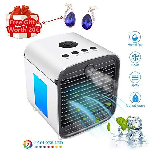 Nifogo Climatiseur Portable, Mini Climatiseur Mobile, Refroidisseur d'air Portable - Rafraichisseur d'air Et Ventilateur, Climatiseur Humidificateur Purificateur 3 en 1, Anti-Fuites (Blanc)
