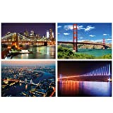 GREAT ART® Set mit 4 Poster – Brücken Set – Brooklyn