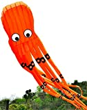 7M Large Octopus Paul Parafoil Kite Orange with Handle & String by LW