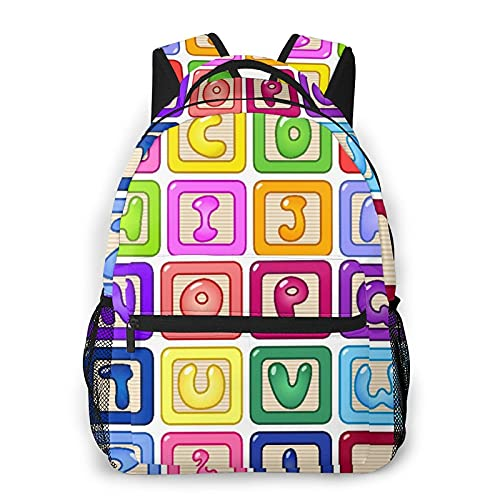 Alvaradod Mochila de viaje para computadora portátil,coloridos bloques de alfabeto inglés para niños,diseño de letras de globos de dibujos animados,mochila...
