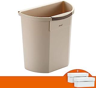 C-J-Xin Wall-Mounted Trash Can, Kitchen Bedroom Bathroom Trash Can No Cover Plastic Trash Can 8L Khaki, Gray 29.5 * 28 * 1...
